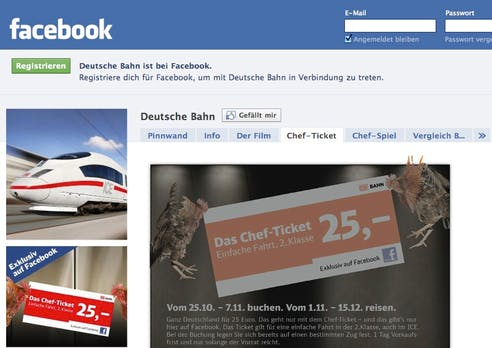 "Social Media: Heftige Kritik an Facebook-Aktion ""Chefticket"" der Deutschen Bahn"