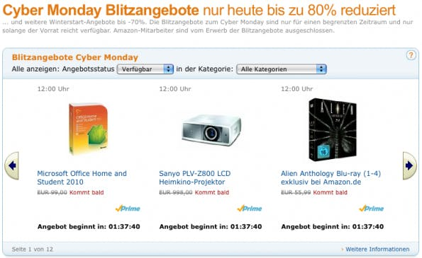 Amazon.de: Cyber Monday Angebote