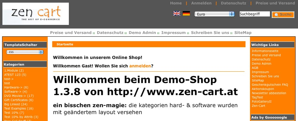 Open Source Shopsystem: Zen Cart