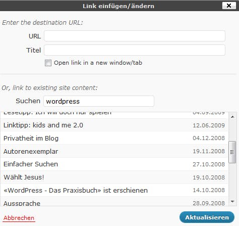 WordPress 3.1 Interne Verlinkung