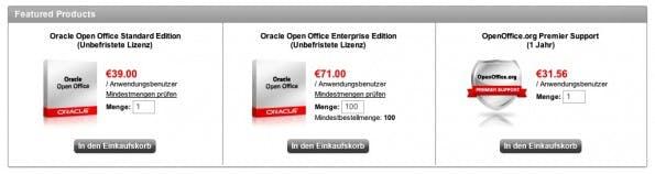 Preisstaffelungen bei Oracle Open Office.