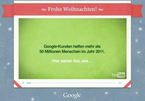 Weihnachtskarten 2010: Google sagte danke