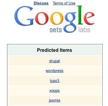 Google SEO Tools: Google Sets