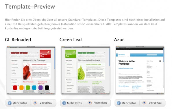 Joomla-Templates: 15 gute Templates von funky-visions.de.