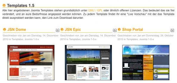 Joomla-Templates: Joomla-Downloads hat zahlreiche Templates für Version 1.5.