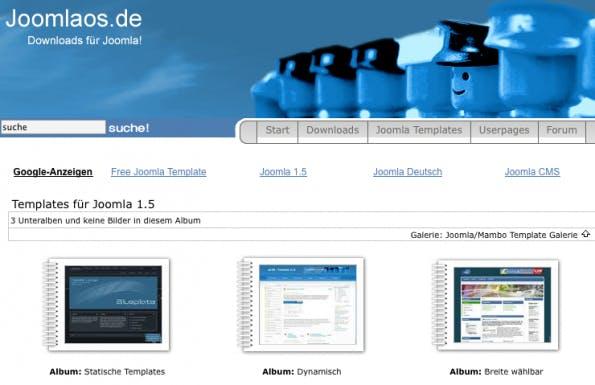 Joomla-Templates: Joomlaos bietet Templates für Version 1.5 und 1.6 an.