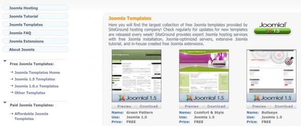 Joomla-Templates: Viele freie Templates gibt es auf SiteGround.
