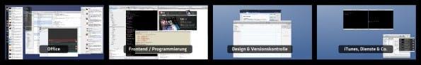 Apple Spaces: David weist Programme jeweiligen Arbeitsbereichen zu