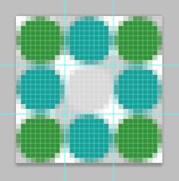 Ein Muster mit verschiedenfarbigen Kreisen.