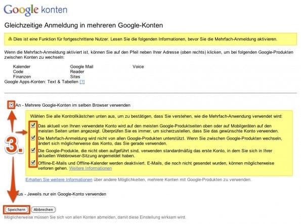 Gleichzeitige Anmeldung in mehreren Google Konten.