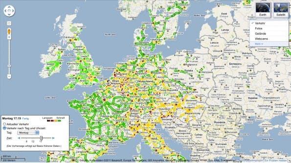 Google Maps zeigt: Europa montags um 17:15. Die farblichen Hervorhebungen zeigen an, wie stark die Straßen frequentiert sind.