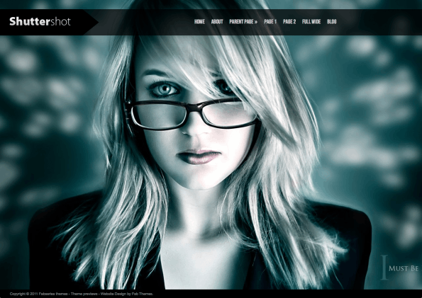 Wordpress Theme shuttershot in der headnavi des Screenshots; blonde Frau mit Brille, schwarzer Blazer vor wolkenartigem türkis, schwarz, weißem Hintergrund