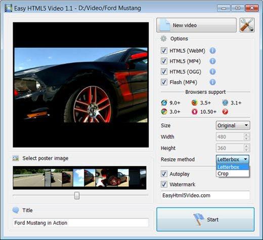 Einstellungsübersicht-Easy HTML5 Video, Auswahlkästchen zum ankreuzen, Auto.