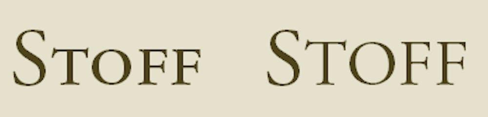 Typografie: Text mit echten Kapitälchen (links) und falschen (rechts)