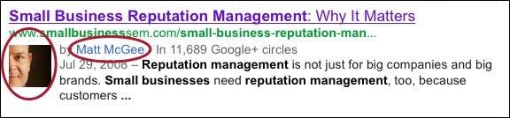 So sieht die Google+ Integration im Test aus (Bild: Search Engine Land).