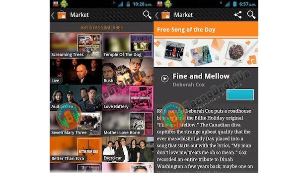 """Die Screenshots aus dem Google Music Store zeigen unter anderem die Band Audioslave, die bei Sony Music unter Vertrag ist und einen Bereich mit der erklärenden Bezeichnug """"Free Song of the Day"""" (Bilder: TecnoDroidVe)."""