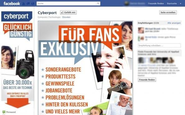 die Cyberport-Facebook-Fanpage, für Fans gibt es exklusive Rabatte am black Friday