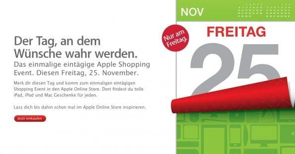 """Ein Kalender zeigt den 25.November, halb abgeblättert, symbolisiert, dass der Tag schon fast vorbei ist; die Überschrift """"Der Tag an dem Wünsche wahr werden"""" lässt erhoffen, dass es morgen bei Apple ganz besondere Schnäppchen zu ergattern geben wird."""