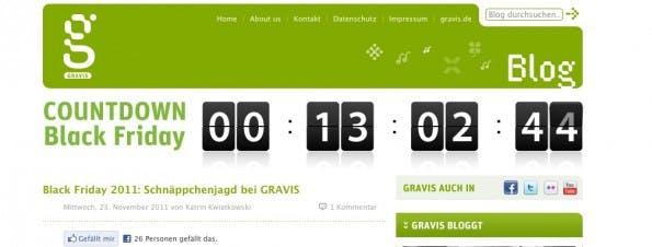 Gravis Blog mit Countdown der die verbleibende Zeit zum Black Friday runterzählt!