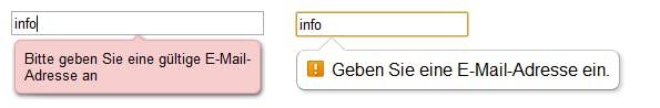 HTML5: Tooltip bei fehlerhafter Eingabe (links im Opera, rechts im Chrome)