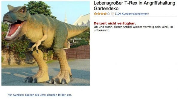 Amazon kurios: Lebensgroßer T-Rex in Angriffshaltung Gartendeko. (Screenshot: Amazon)