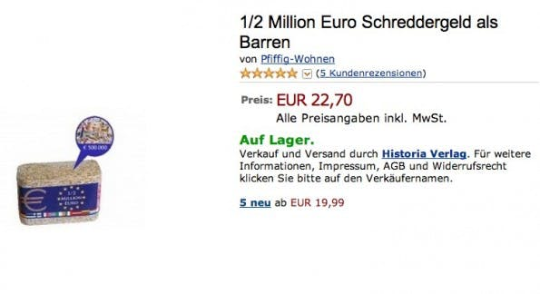 Amazon kurios: 500.000 Euro Schreddergeld als Barren. (Screenshot: Amazon)