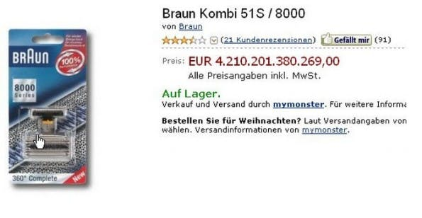 Amazon kurios: Braun Kombi 51S / 8000. (Screenshot: Amazon)