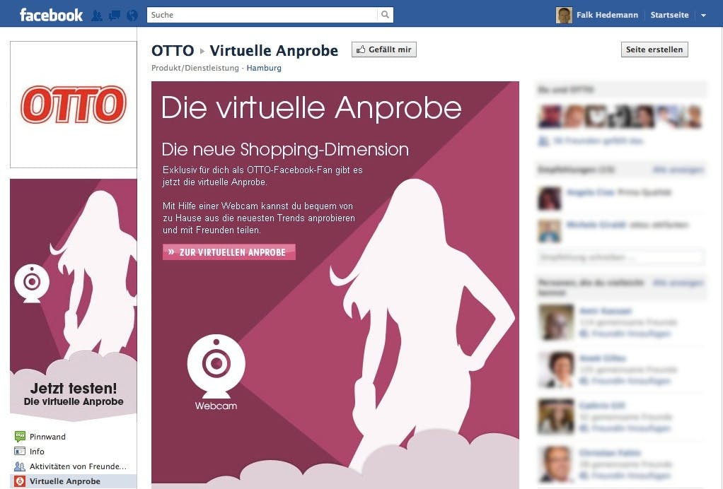 F-Commerce: Otto startet Facebook-Shop mit virtueller Anprobe