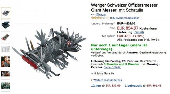 Amazon kurios: Wenger Schweizer Offiziersmesser Giant Messer. (Screenshot: Amazon)