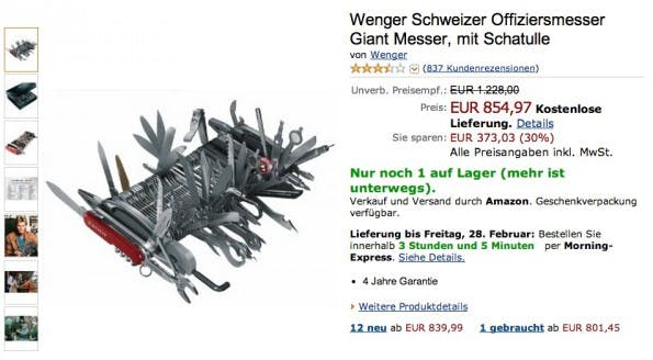 Amazon kurios: Wenger Schweizer Offiziersmesser Giant Messer. (Screenshot: Amazon)