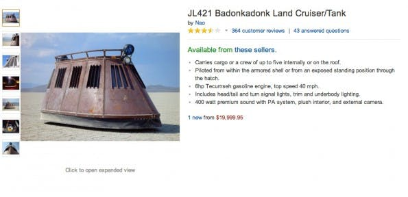 Amazon kurios: JL421 Badonkadonk Land Cruiser/Tank. (Screenshot: Amazon)