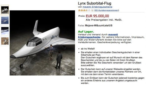 Amazon kurios: Lynx Suborbital-Flug. (Screenshot: Amazon)