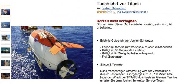 Amazon kurios: Tauchfahrt zur Titanic. (Screenshot: Amazon)