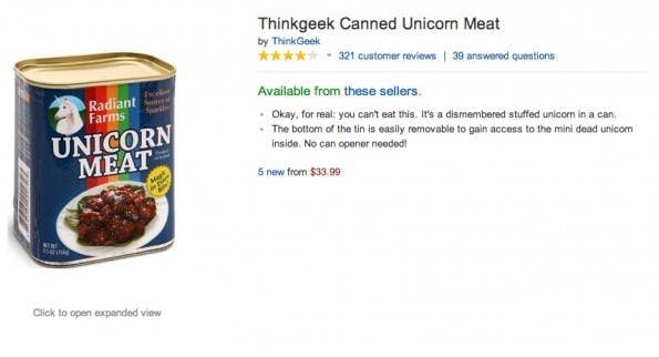 Amazon kurios: Thinkgeek Canned Unicorn Meat. (Screenshot: Amazon)