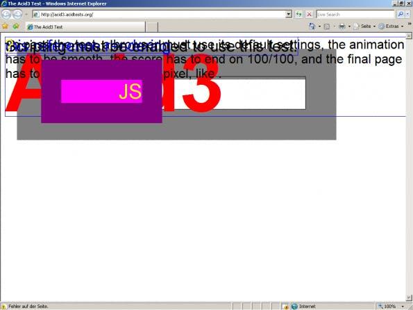 Der Internet Explorer 7 im Acid3-Test