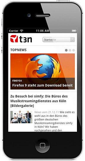 Mobile Webseite von t3n