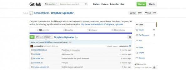 Dropbox Uploader bringt Shell und Dropbox zusammen. (Screenshot: GitHub)
