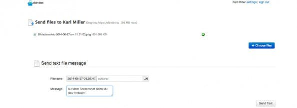 Dropbox: Mit dbinbox kann euch jeder über ein einfaches Web-Interface Dateien schicken. (Screenshot: dbinbox)