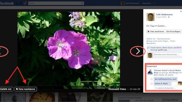 Facebook-Bilderansicht: Neue Optik mit Werbeanzeigen