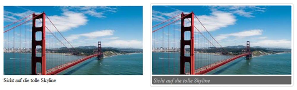 HTML5: FIGURE-Element pur (links) und per CSS gestaltet (rechts)