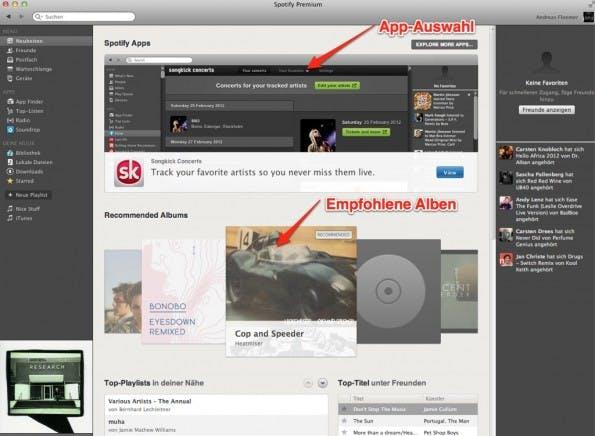 Spotify-App Standardansicht