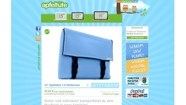 Contao webShop Beispielreferenz Apfeltüte
