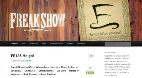 """Freakshow hat keinen besonderen Schwerpunkt: """"Freak Show ist ein Podcast, der sich mit dem Leben mit Technik im 21. Jahrhundert auseinandersetzt und dabei eine Vielzahl von Themen anschneidet."""" (Screenshot: Freak Show)"""