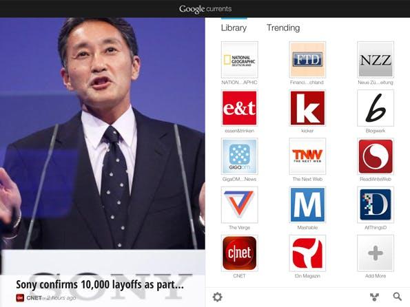 iPad-Ansicht von Google Currents mit abonnierten Editionen