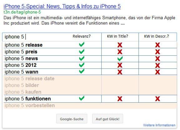IPhone-5-Tagpage Google Snippet vorher