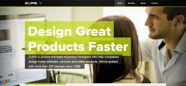 """Design-Trend """"übergroße Typografie"""": Große Buchstaben erzielen Aufmerksamkeit. Sie vermitteln klar und deutlich das Anliegen und Ziel einer Webseite. Die Überschrift im Beispiel von ZURB (www ) vermittelt Kunden mit nur vier Worten eine tiefe Botschaft: """"Design great products faster""""."""