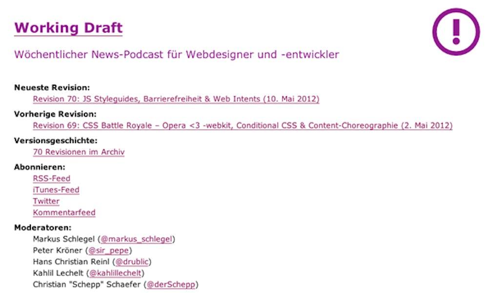 """Der Podcast """"Working Draft"""" eine sehr schlichte Website"""