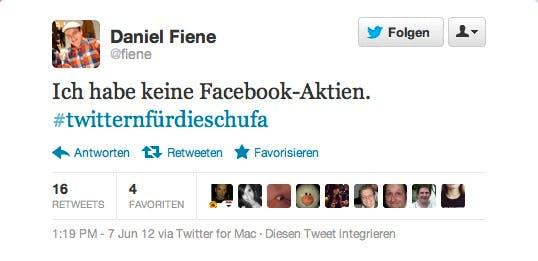 Twitter für die Schufa: Daniel Fiene weist auf seinen Nichtbesitz von Facebook-Aktien hin.