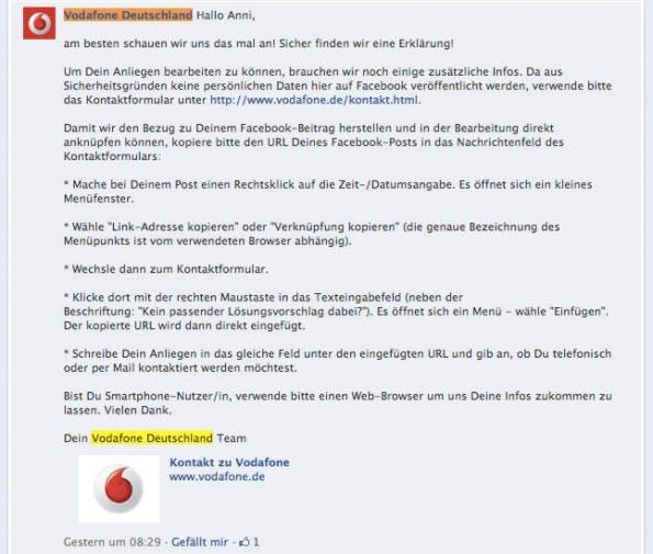 Beschwerdebrief Vodafone
