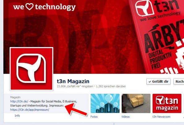 Impressum der t3n bei Facebook